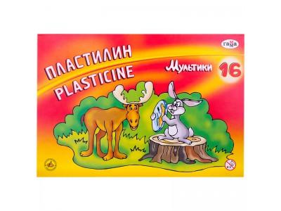 "Пластилин Гамма ""Мультики"", 16 цветов, 320г, со стеком, картон 280027/281027"