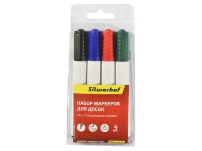 Набор маркеров для досок Silwerhof PRIME 118005-00 1-3мм 4цв. пакет с европодвесом