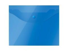 Папка-конверт на кнопке OfficeSpace А5 (190*240мм), 150мкм, полупрозрачная, синяя, арт. 267531