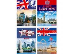 """Тетрадь для записей BG 100 л. А4 """"Great Britain"""" (ассорти) твердая обложка, евроспираль, матовая ламинация, выборочный лак, арт.Т4гр_7БЦ100_лам_вл 3379"""