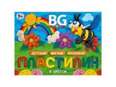 """Пластилин детский восковой, набор со стеком 8 цветов 120 гр. BG """"Весёлая пчёлка"""" картон. коробка с европодв., арт. PLw8C_15Ep 4219"""