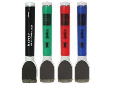 Набор маркеров для доски в PVC-пенале, с магнитом и губкой, 4 цв.