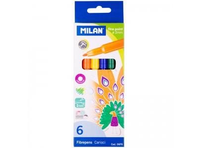 Фломастеры Milan, 06цв., смываемые, картон, европодвес, арт. 06F6