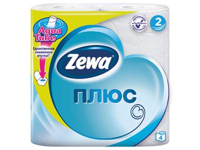 """Бумага туалетная """"ZewaПлюс"""" , двухслойная, 4рул/уп."""