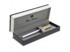 Ручка перьевая Classico Gold, рифленый хромированный корпус, позолоченные детали и колпачок, синий М, арт. FF-FP2032