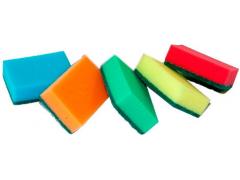"""Губки для мытья посуды OfficeClean """"Maxi"""", поролон с абразивным слоем, 5шт/уп."""
