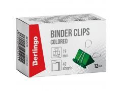 Зажимы для бумаг 19мм, Berlingo, 12шт., цветные, картонная коробка BC1219f