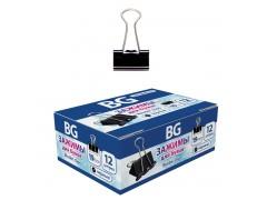 Зажимы BG для бумаг в наборе, черные, 19 мм, 12 шт., арт. Z19 7486