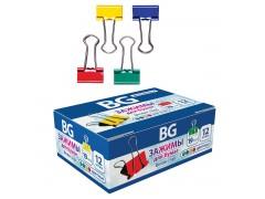 Зажимы BG для бумаг в наборе, цветные, 19 мм, 12 шт., арт. Z19C 7487
