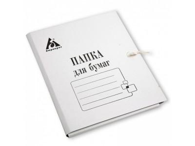 Папка на завязках Бюрократ PZ220 картон 0.35мм 220г/м2 белый