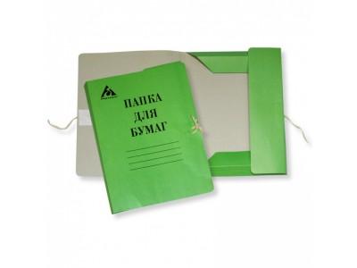 Папка на завязках Бюрократ PZ320MGRN картон мелованный 0.6мм 320г/м2 зеленый