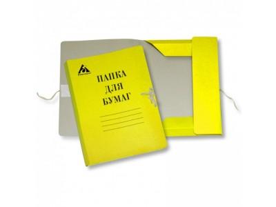 Папка на завязках Бюрократ PZ320MYEL картон мелованный 0.6мм 320г/м2 желтый