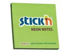 Блок самоклеящийся бумажный Stick`n ECO 21167 76x76мм 100лист. 70г/м2 неон зеленый