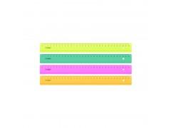 Линейка цветная, флюоресцентная, прозрачная, 4 цв., 30 см, арт. ЛН32