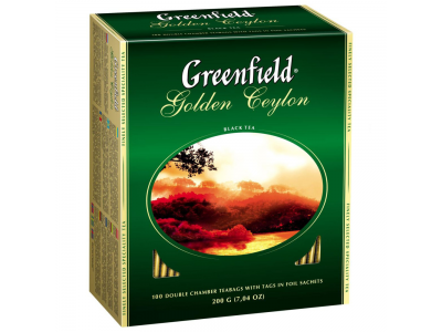 """Чай черный пакетированный """"Greenfield"""" Голден Цейлон, 100 пакетиков"""