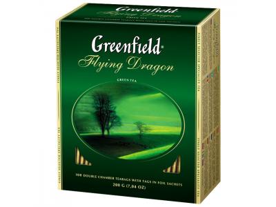 """Чай зеленый пакетированный """"Greenfield"""" Flying Dragon, 100 пак х 2 г"""