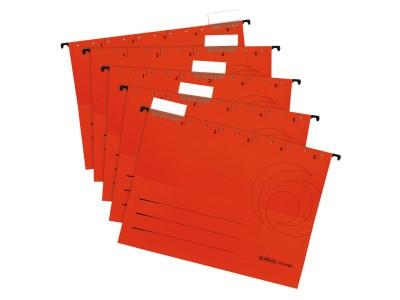 Набор папок подвесных HERLITZ, разм.318х240 мм, картонные 230 г/м2, с табулятором,  красные, 5 шт/упак, арт.05874698