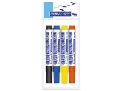 Набор маркеров для стеклянной доски M465, 4 цв., 2-3 мм (черный, синий, желтый, оранжевый), GRANIT