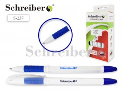 Ручка гелевая, цвет чернил - СИНИЙ, белый пласт.корпус, цв.резиновый держатель, арт. S 237