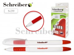 Ручка гелевая, цвет чернил - КРАСНЫЙ, белый пласт.корпус, цв.резиновый держатель, арт. S 239