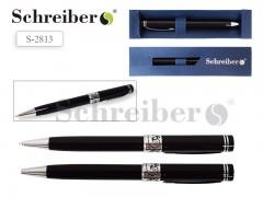 Ручка шариковая металлическая, поворотная, цвет черный глянцевый в футляре, СИНИЕ чернила, пишущий узел 1,0 мм, стержень TZ 81, арт. S 2813