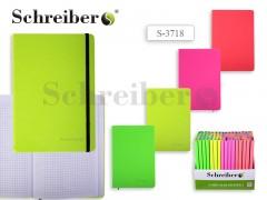 Записная книжка НЕОН, клетка, внутр. блок - радуга, 200 стр., 21х14,5 см, 4 цвета в ассортименте, арт. S 3718