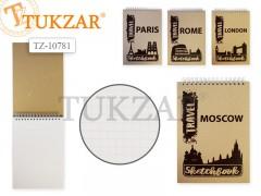 Блокнот на гребне А5 80л, обложка крафт-картон с тиснением, арт. TZ 10781