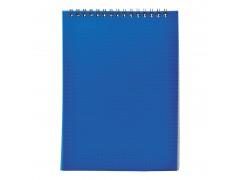 Блокнот на спирали, клетка, пластик.обложка, синий,ф.А5, 40л., арт. SNPcl-5/40bu-1