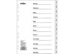 Разделитель пластиковый, по месяцам, январь-декабрь, ф. А4, арт. IND115