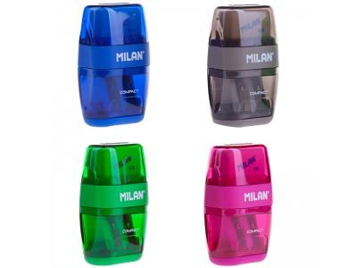 """Точилка пластиковая с ластиком Milan """"Compact"""", 2 отверстие, контейнер, ассорти, арт. 4703116"""