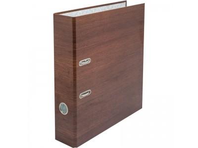 Папка-регистратор ламинированная, 80 мм, Орех милано, темно-коричневая, арт. IN111133