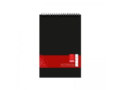 Блокнот офисный для конференций, ф.А5, 40л, спираль, клетка, мел.картон. обложка, жесткая задняя часть