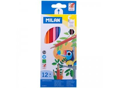 """Карандаши Milan """"211"""", 12цв., заточен., картон, европодвес, арт. 80012"""