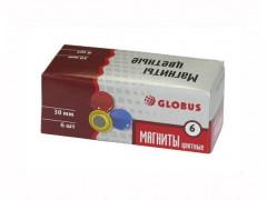 Набор магнитов цветных 30 мм, 6 шт. МЦ30-6К