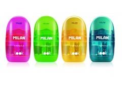 """Точилка пластиковая с ластиком Milan """"Capsule Look"""", 1 отверстие, контейнер, ассорти, арт. 4712116"""