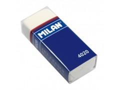 """Ластик Milan """"4020"""", прямоугольный, синтетический каучук, картонный держатель, 55*23*13мм, CMM4020"""