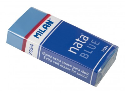 """Ластик Milan """"Nata Blue 7024"""", прямоугольный, пластик,карт.держатель,синий, 50*23*10мм, арт.CPM7024B"""