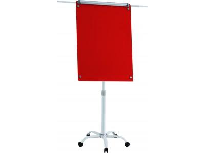 Флипчарт стеклянный магнитно-маркерный Classic Boards BMF96-VA1/G, 90x60см (красный), мобильный на колесиках, регулируемая высота