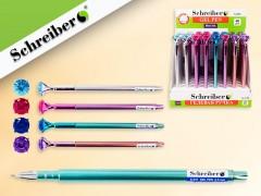 Гелевая ручка С КРИСТАЛЛОМ, игольчатый наконечник 0,5 mm, СИНИЙ ЦВЕТ, 4 цвета корпуса в ассортименте, арт. S 231