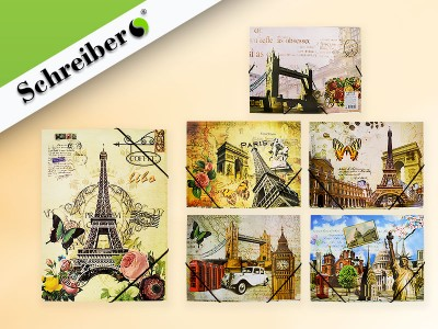 Папка-конверт на резинке ГОРОДА, 32х23,5 см., материал - картон, 6 дизайнов в ассортименте, арт. S 2701
