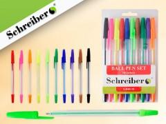 Набор шариковых ручек, 10 цветов, 0,8 мм, прозрачный пластиковый корпус, арт. S 840-10
