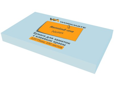 Бумага для заметок с клеевым краем, 125х75 мм, 100л., цвет светло-голубой