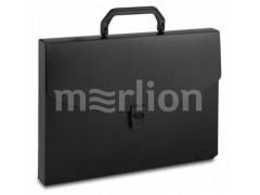 Портфель Бюрократ -BPP01BLCK 1 отдел. A4 пластик 0.7мм черный