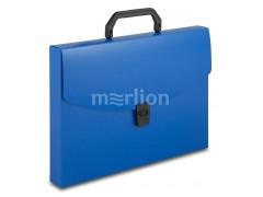 Портфель Бюрократ -BPP01BLUE 1 отдел. A4 пластик 0.7мм синий