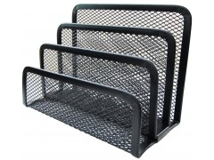 Подставка для канцелярских принадлежностей металлическая 3 отделения Horer, черная, арт. Z4807
