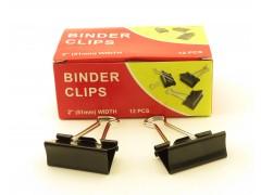 Зажимы для бумаг в наборе, черные, 51 мм, 12 шт., Binder clips