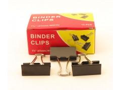 Зажимы для бумаг в наборе, черные, 41 мм, 12 шт., Binder clips