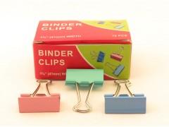 Зажимы для бумаг в наборе, цветные, 41 мм, 12 шт., Binder clips