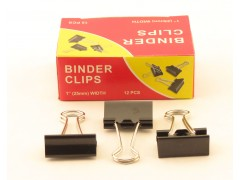 Зажимы для бумаг в наборе, черные, 25 мм, 12 шт., Binder clips