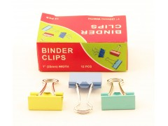 Зажимы для бумаг в наборе, цветные, 25 мм, 12 шт., Binder clips